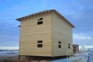 Готовый дом 9х9 под усадку, обрезной брус 150х150 под рубероид