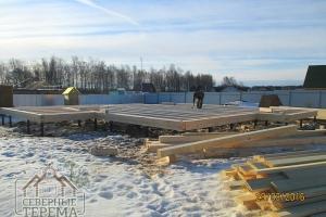 Возведение дома из проф. бруса на свайно-винтовой фундамент
