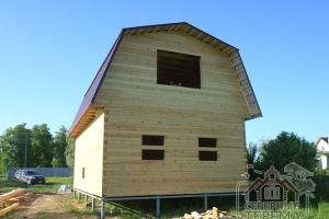 Дом из проф бруса с металлочерипицей под усадку