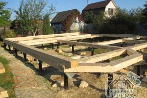 Строительство дома из бруса на свайно-винтовой фундамент