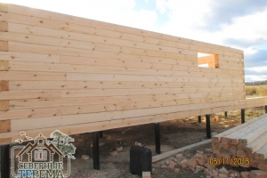 14 рядов дома из проф. бруса 150х150 на свайно-винтовом фундаменте