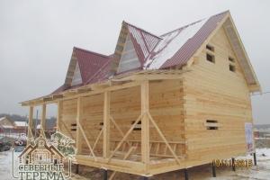 Дом из профилированного бруса 145х145 по проекту ДН-54, крыша - профнастил