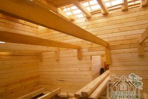 Вид внутренней части дома. Крепление лаг надежно и выдержит нагрузку