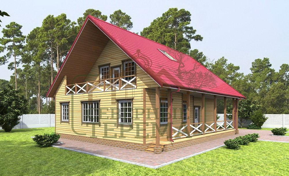 Дом из бруса с мансардой и балконом.