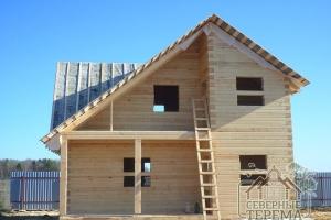 """Дом из бруса 6х8 """"под рубероид"""", построенный в 2016 году по проекту Д-22"""