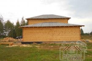 Вид сзади на строение из проф. бруса