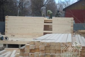 Строим 3 дом, собрано 14 рядов, вид со стороны террасы