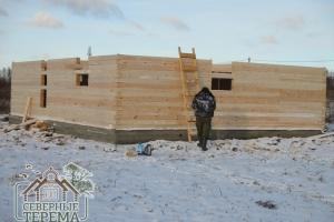 16 рядов брусового дома из дерева по проекту Заказчика