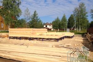Собираем дом из бруса по проекту ДН-22 на готовый свайно-винтовой фундамент