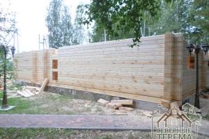 15 рядов стен деревянного дома из проф. бруса 145х195