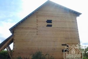 Окна будут выпилены по размеру при отделке сруба из бруса