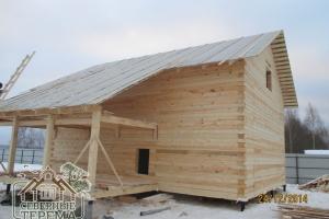 Дом из профилированного бруса 195х145 под рубероид готов к усадке!
