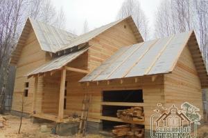 Дом из профилированного бруса с гаражом по проекту ДБ-22
